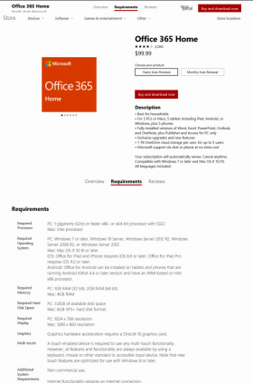 Office 365 specimen shows trademark use for a specific type of computer software and programs. The specimen is a screenshot of a webpage showing the trademark next to purchasing and downloading information.