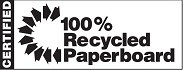 CERTIFIED 100% RECYCLED PAPERBOARD with an arrow design