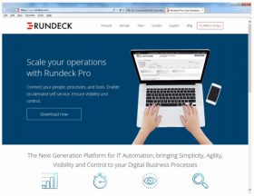 Rundeck specimen shows trademark use for a specific type of downloadable software. The specimen is a screenshot of a webpage for downloading the software. The trademark is shown in the upper left corner.