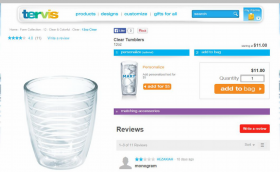Tervis specimen shows trademark use for beverageware. The specimen is a screenshot of a webpage selling the beverageware. The trademark is shown in the upper left corner of the webpage, with the goods shown below.