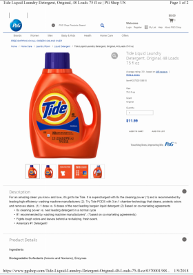 Tide specimen shows trademark use for laundry detergent. The specimen is a screenshot of a webpage selling the laundry detergent. The trademark is shown on an image of a detergent bottle appearing on the webpage.