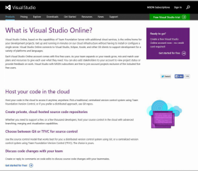 Visual Studio specimen shows trademark use for a specific type of non-downloadable software. The specimen is a screenshot of a webpage where consumers can sign in to the software service. The trademark is shown in the upper left corner.