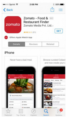Zomato specimen showing trademark use for a specific type of downloadable app. The specimen is a screenshot of an app store webpage selling the app. The trademark is shown in the upper left of the screen.