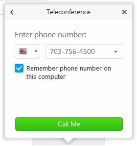 WebEx phone number dialog