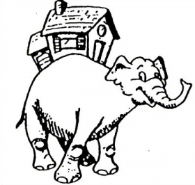 Elephant with a house on its back