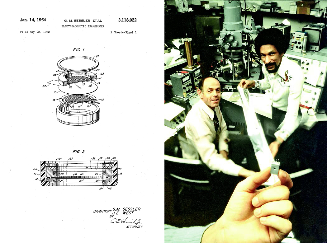 At left: Patent drawing for the electroacoustic transducer; at right: Gerhard Sessler and West in the lab with a hand showing the electret microphone.