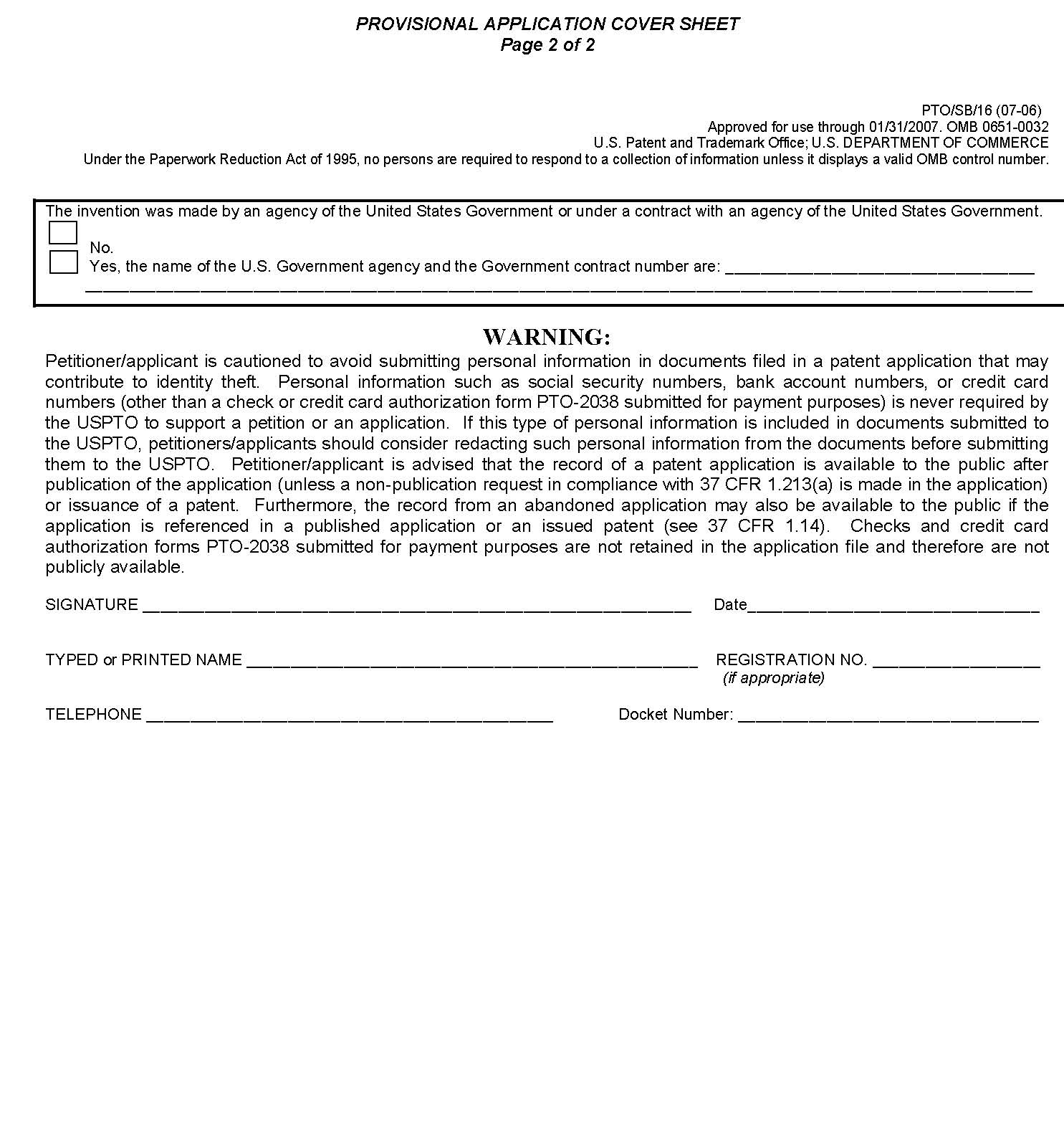 Provisional Patent Application Cover Sheet