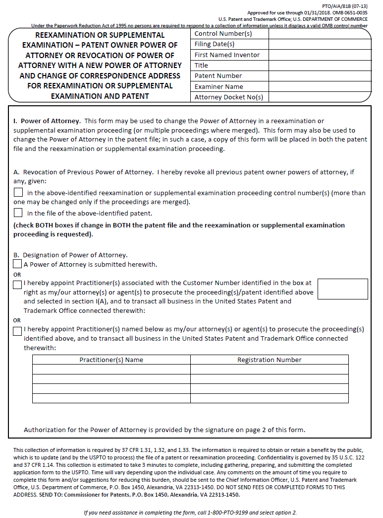 Page 1 Of Form PTO/AIA/81B Reexamination Or Supplemental Examination    Patent Owner  Free Change Of Address Form