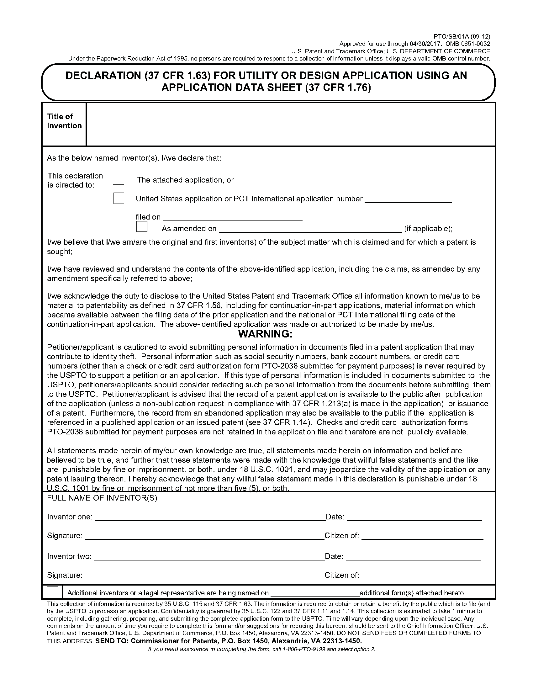 602 oaths and declarations for Utility patent application template