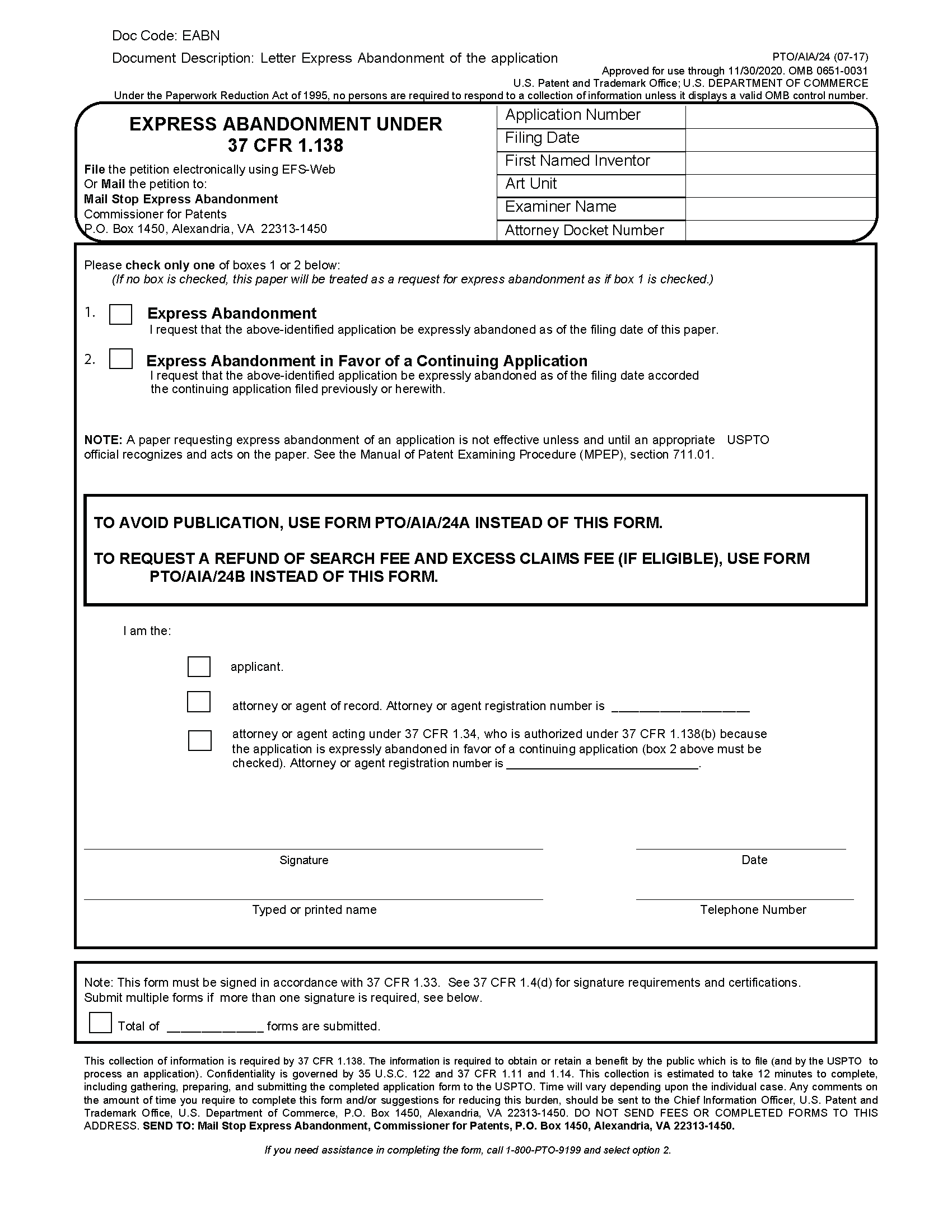 form ptosb24 express abandonment under 37 cfr 1138