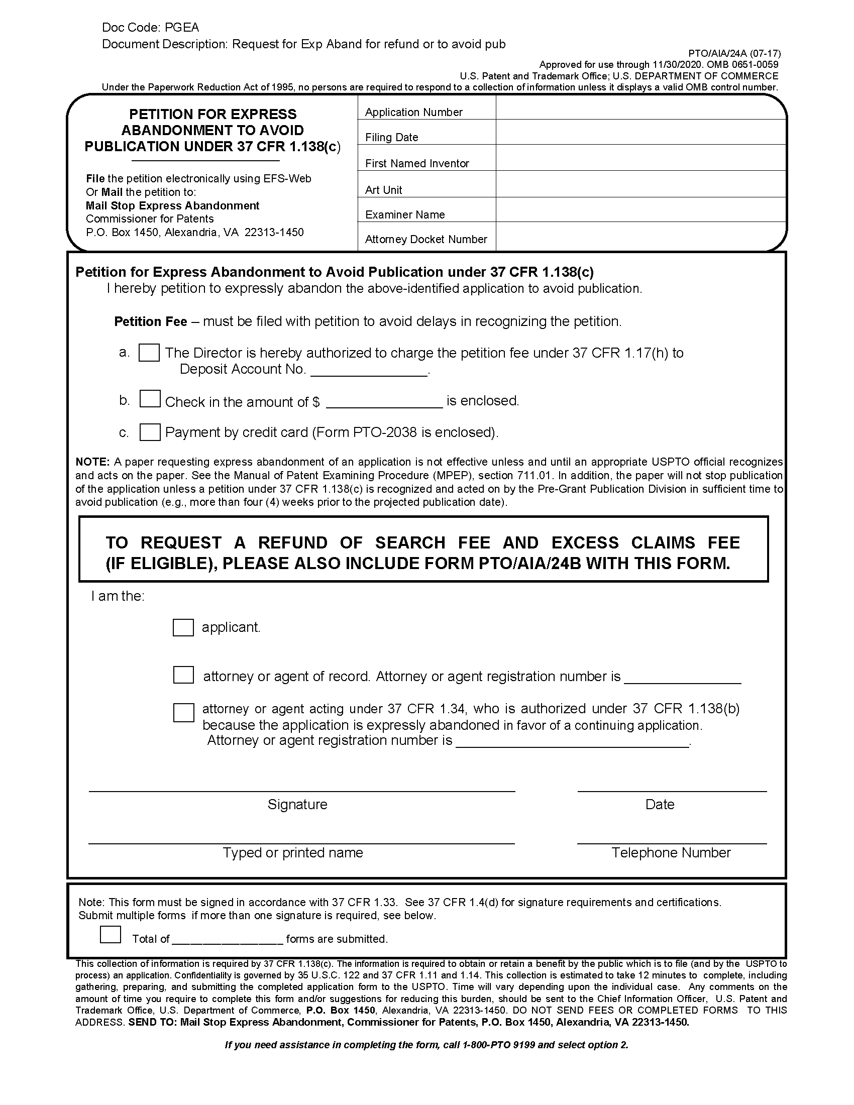 Form PTO/SB/24a Petition For Express Abandonment To Avoid Publication Under  37 CFR