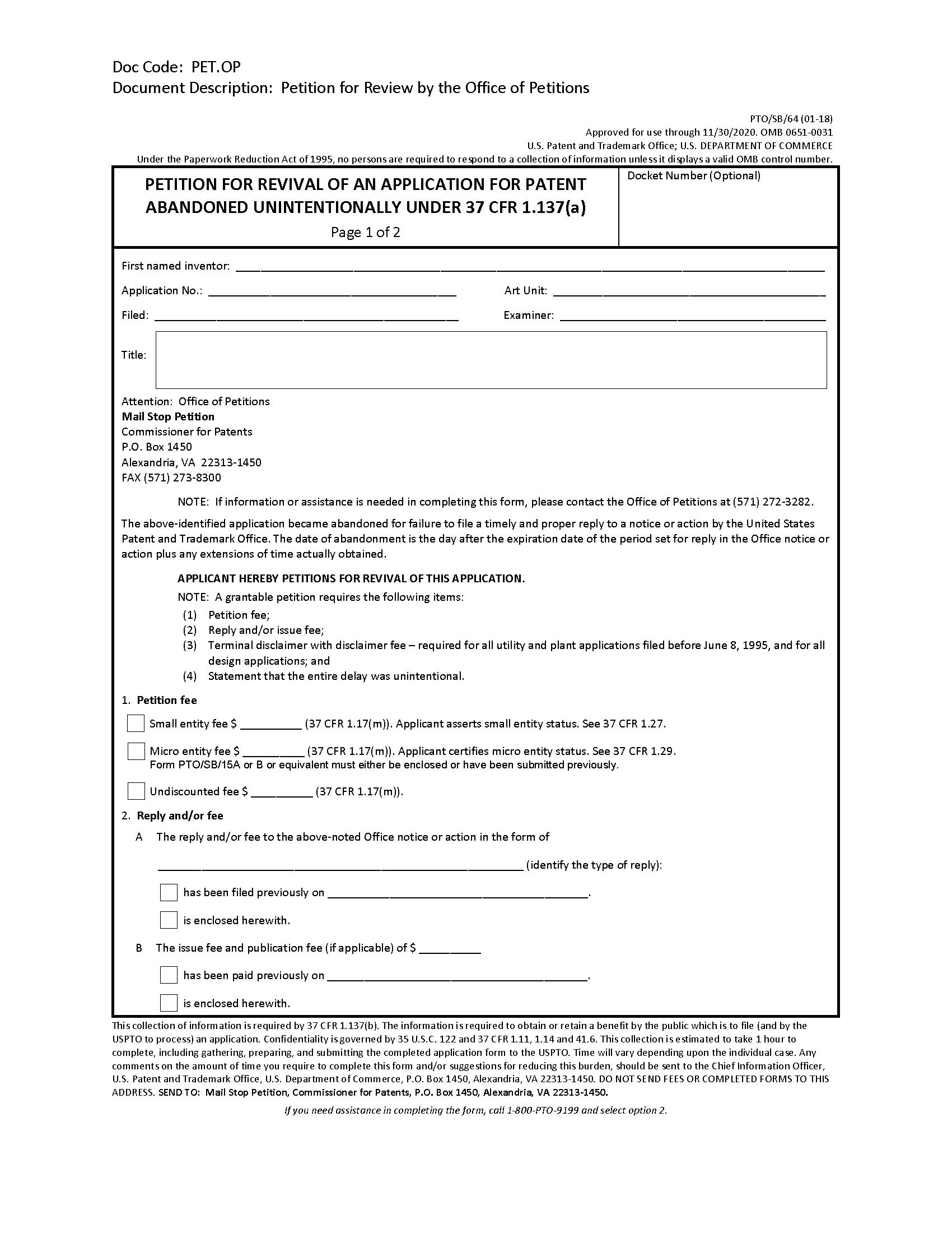 711-Abandonment of Patent Application
