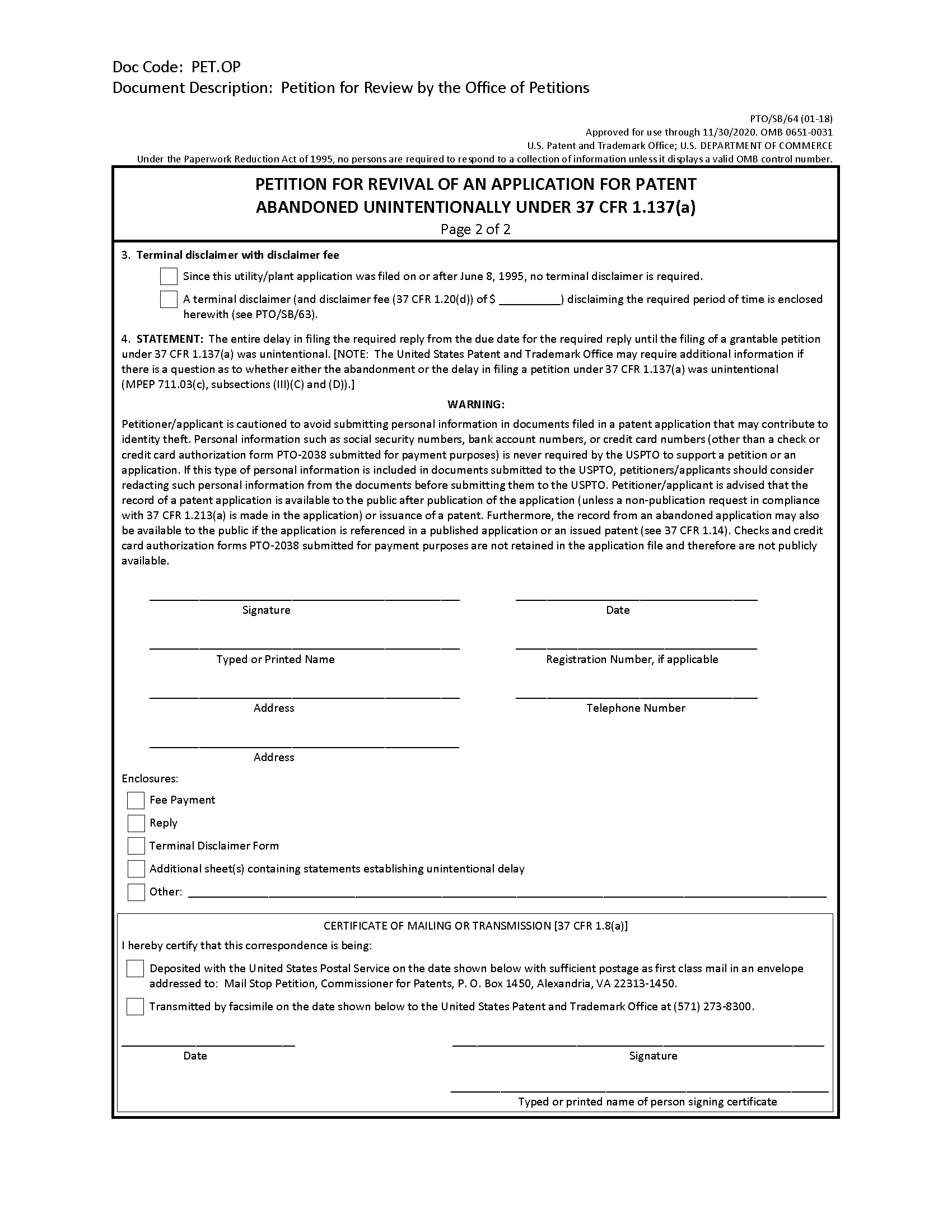 abandonment of patent application form pto sb 64 petition for revival of an application for patent abandoned