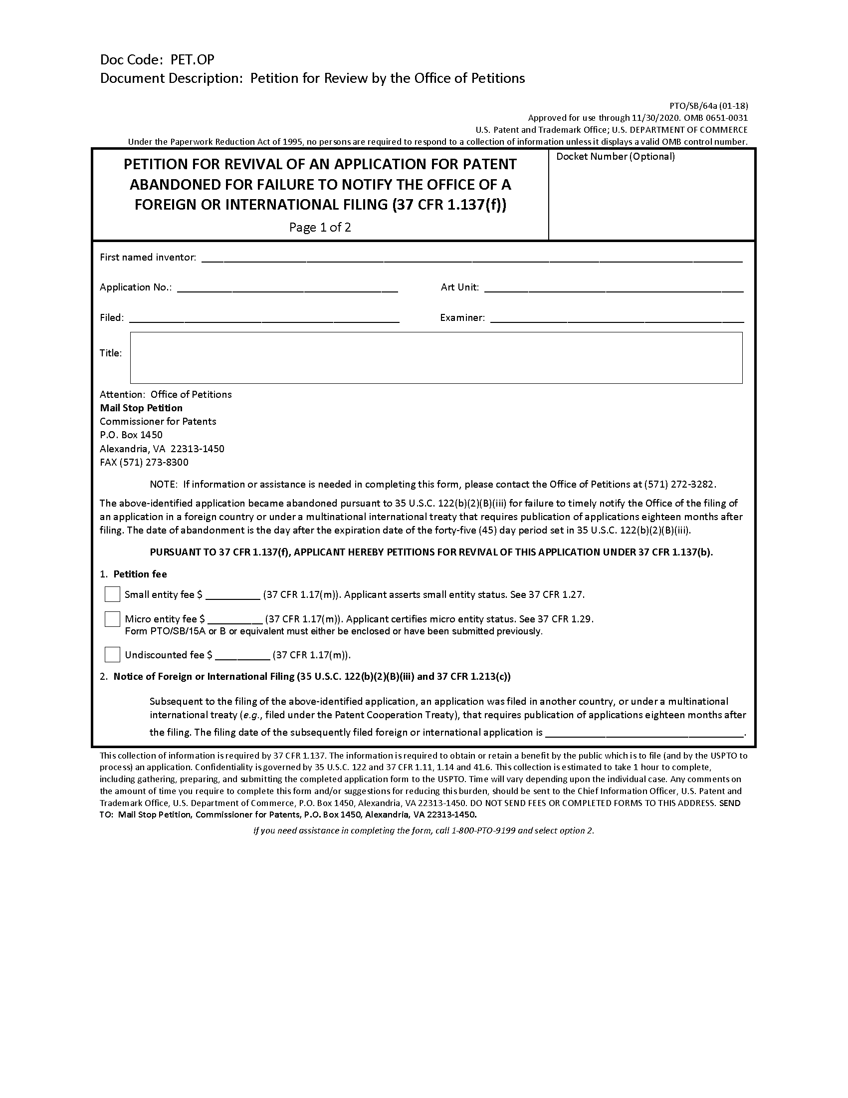 711-Abandonment of Patent Application on pa forms, rca forms, pca forms, dual forms,