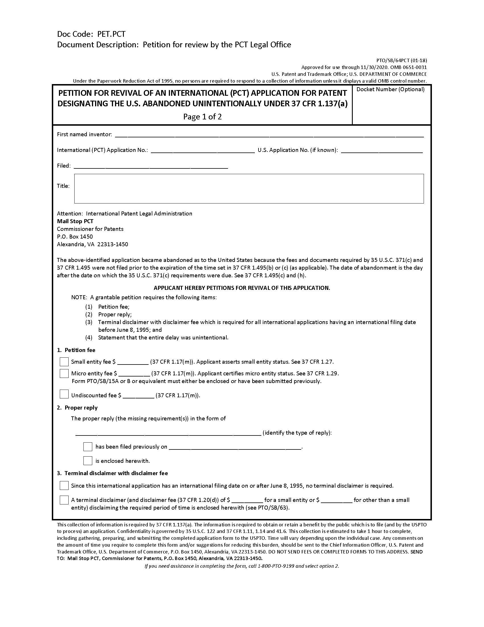 Form PTO/SB/64/PCT Petition For Revival Of An International Application For