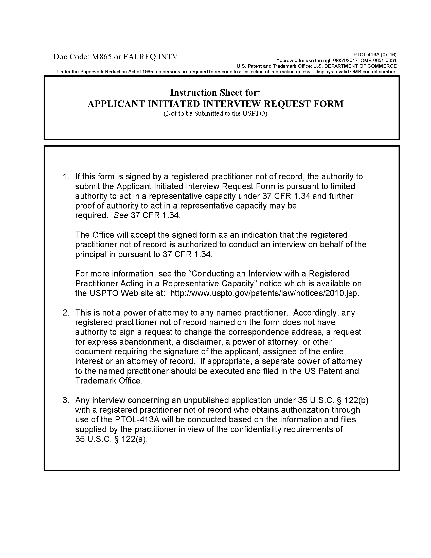 713 interviews form ptol 413a instruction sheet for applicant initiated interview request form